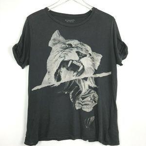 AllSaints Tiger Print Tee Black Short Sleeve